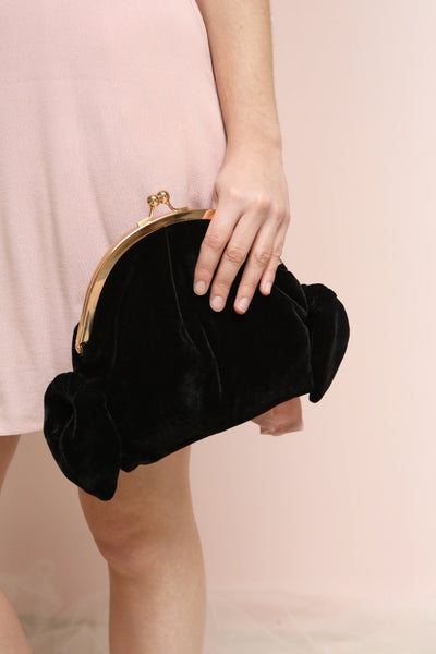 Merlini Fuchsia Velvet Clutch | Pochette | Boutique 1861 on model