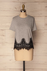 Mespelare Grey & Black T-Shirt with Lace | La Petite Garçonne