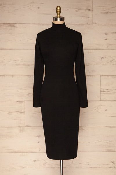 Messina Black Mock Neck Fitted Dress | La petite garçonne front view