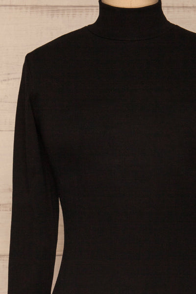 Messina Black Mock Neck Fitted Dress | La petite garçonne  front close-up