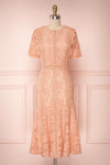 Meteniti Pink Lace Flared Midi Cocktail Dress | Boutique 1861