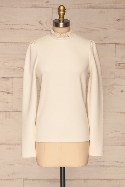 Methon Chalk White Mock Neck Top | Haut | La Petite Garçonne front view