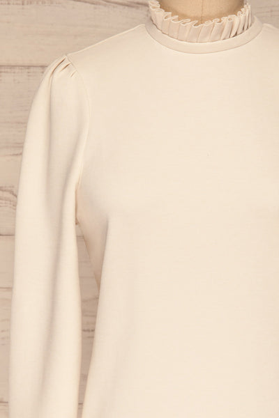 Methon Chalk White Mock Neck Top | Haut | La Petite Garçonne front close-up