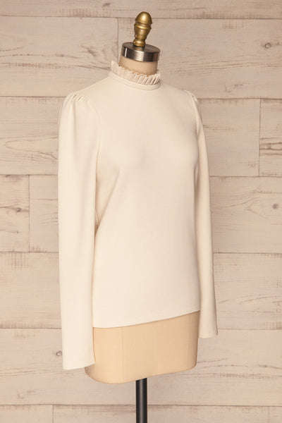 Methon Chalk White Mock Neck Top | Haut | La Petite Garçonne side view
