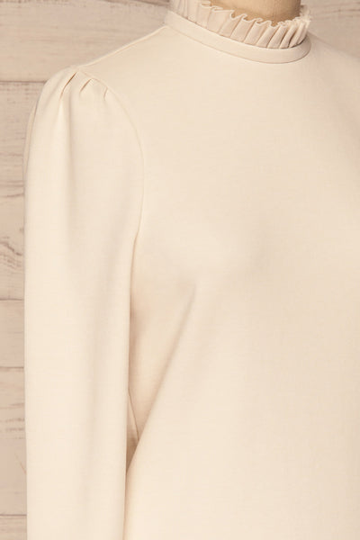 Methon Chalk White Mock Neck Top | Haut | La Petite Garçonne side close-up