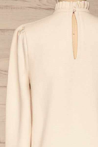 Methon Chalk White Mock Neck Top | Haut | La Petite Garçonne back close-up