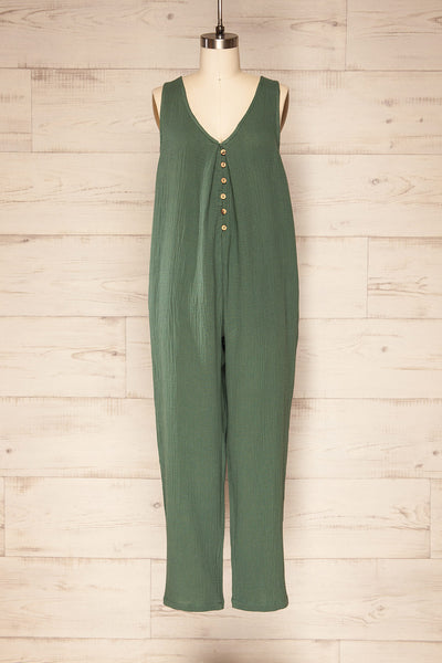 Miass Green Sleeveless Button-Up Jumpsuit  | La petite garçonne front view
