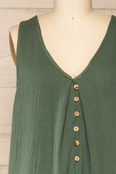 Miass Green Sleeveless Button-Up Jumpsuit  | La petite garçonne front close-up