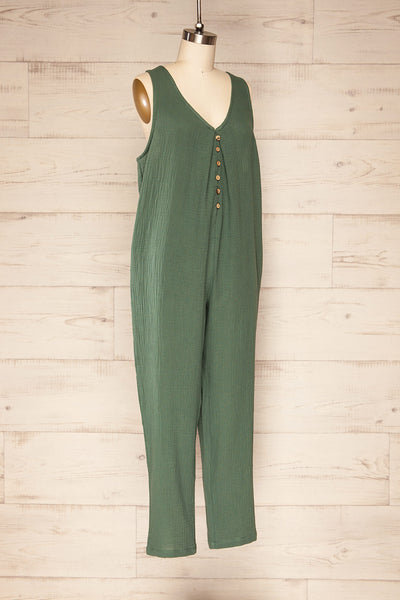 Miass Green Sleeveless Button-Up Jumpsuit  | La petite garçonne side view