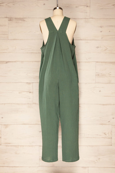 Miass Green Sleeveless Button-Up Jumpsuit  | La petite garçonne back view