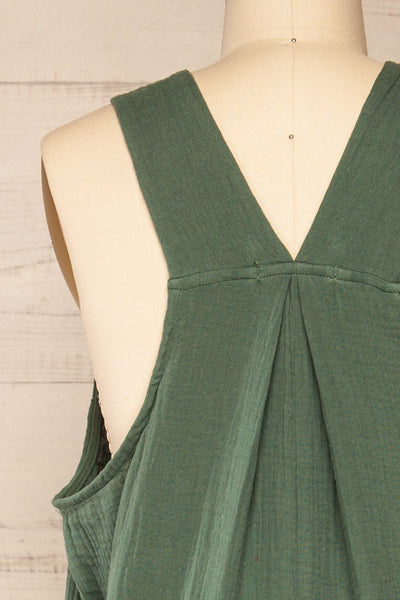 Miass Green Sleeveless Button-Up Jumpsuit  | La petite garçonne back close-up
