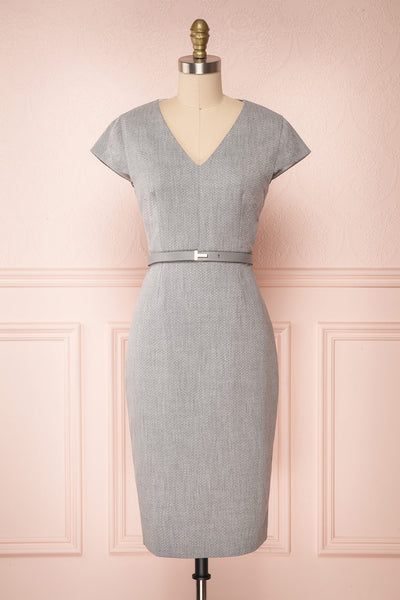 Michad Grey Fitted Ted Baker Cocktail Dress | FRONT VIEW | La Petite Garçonne