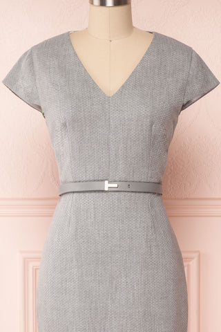 Michad Grey Fitted Ted Baker Cocktail Dress  | FRONT CLOSE UP | La Petite Garçonne