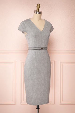 Michad Grey Fitted Ted Baker Cocktail Dress | SIDE VIEW  | La Petite Garçonne