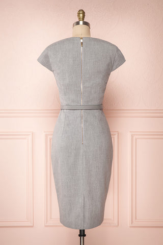 Michad Grey Fitted Ted Baker Cocktail Dress | BACK VIEW | La Petite Garçonne