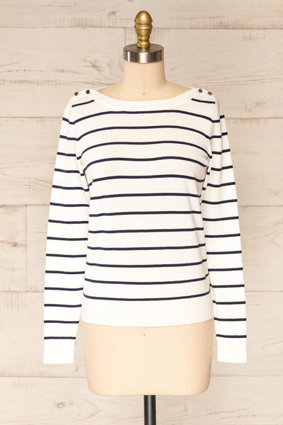 Middlesbrough Striped Long Sleeve Top | La petite garçonne  front view