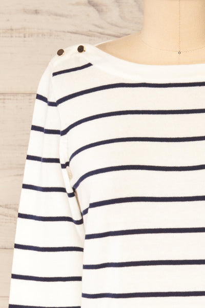 Middlesbrough Striped Long Sleeve Top | La petite garçonne  front close-up