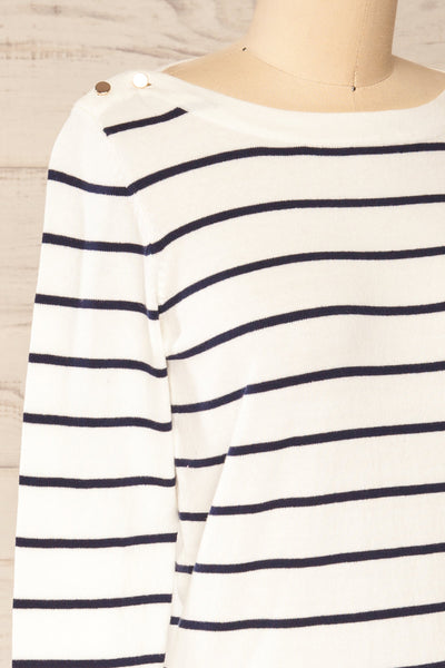 Middlesbrough Striped Long Sleeve Top | La petite garçonne  side close-up