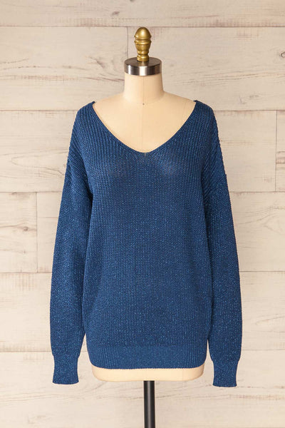 Miechow Ocean Blue V-Neck Knitted Sweater | La petite garçonne front view