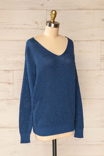 Miechow Ocean Blue V-Neck Knitted Sweater | La petite garçonne side view