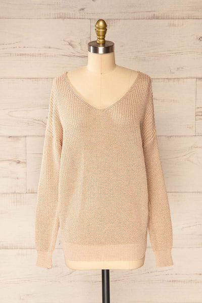 Miechow Tan V-Neck Knitted Sweater | La petite garçonne front view
