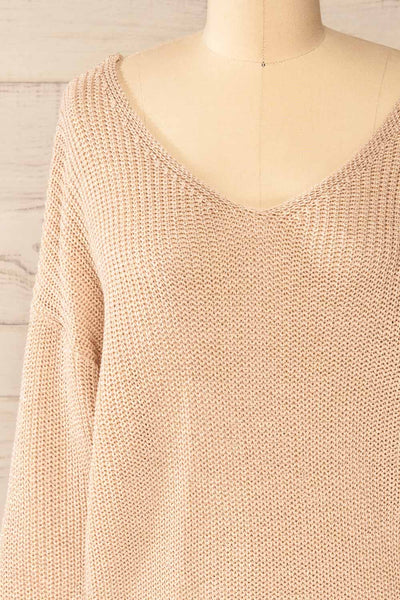 Miechow Tan V-Neck Knitted Sweater | La petite garçonne front close-up