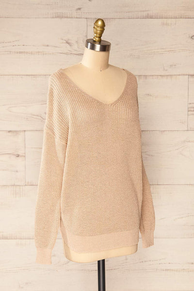 Miechow Tan V-Neck Knitted Sweater | La petite garçonne side view