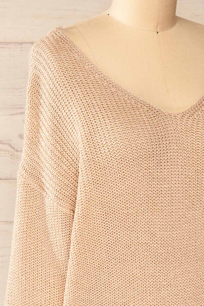 Miechow Tan V-Neck Knitted Sweater | La petite garçonne side close-up