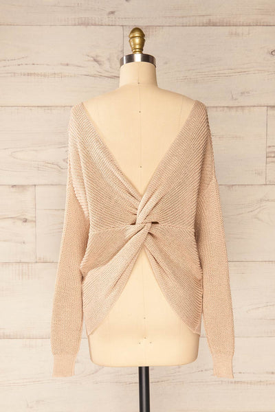 Miechow Tan V-Neck Knitted Sweater | La petite garçonne back view
