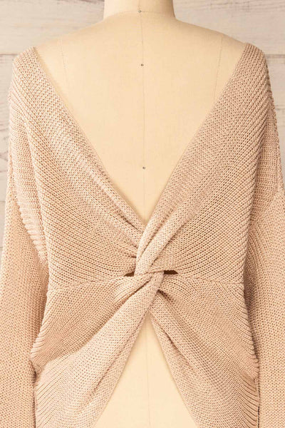 Miechow Tan V-Neck Knitted Sweater | La petite garçonne back close-up