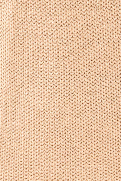 Miechow Tan V-Neck Knitted Sweater | La petite garçonne fabric