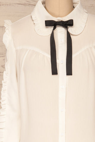 Migdalia White Chiffon Shirt with Ruffles | La Petite Garçonne front close-up