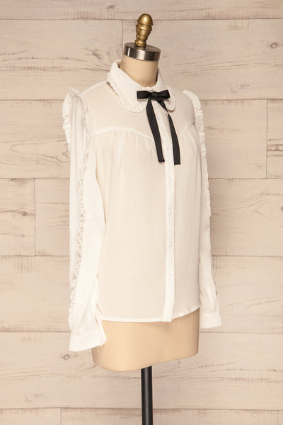 Migdalia White Chiffon Shirt with Ruffles | La Petite Garçonne side view