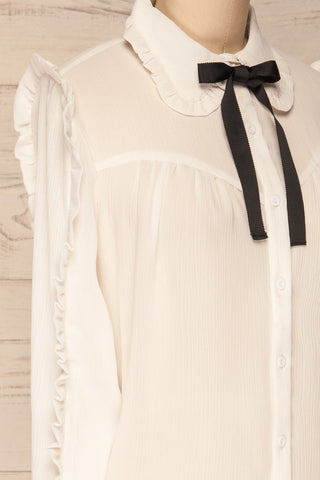 Migdalia White Chiffon Shirt with Ruffles | La Petite Garçonne side close-up