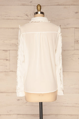 Migdalia White Chiffon Shirt with Ruffles | La Petite Garçonne back view