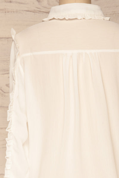 Migdalia White Chiffon Shirt with Ruffles | La Petite Garçonne back close-up