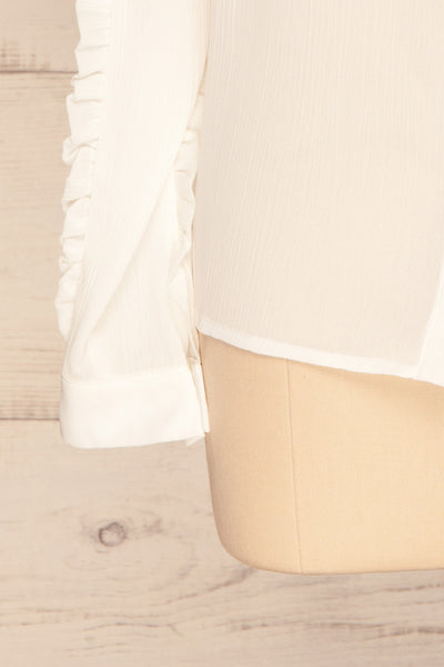 Migdalia White Chiffon Shirt with Ruffles | La Petite Garçonne bottom close-up