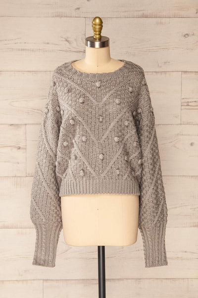 Miirsk Grey Cropped Knit Sweater | La petite garçonne front view