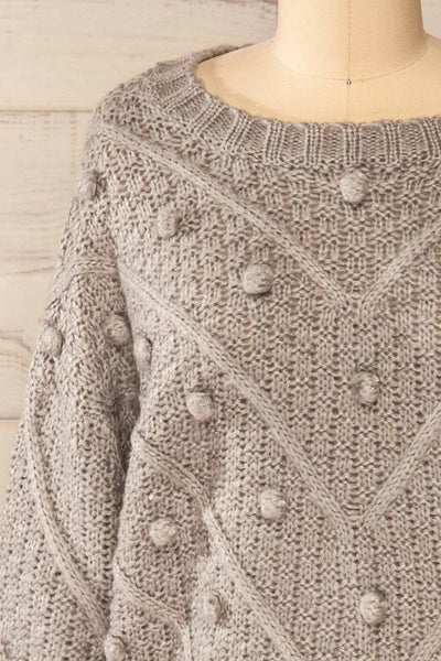 Miirsk Grey Cropped Knit Sweater | La petite garçonne front close-up
