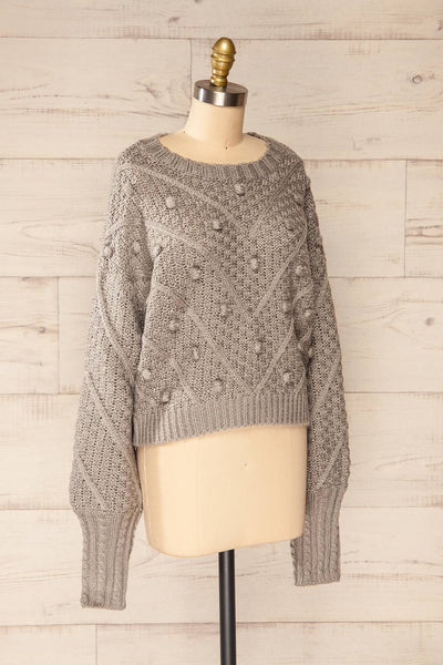 Miirsk Grey Cropped Knit Sweater | La petite garçonne side view