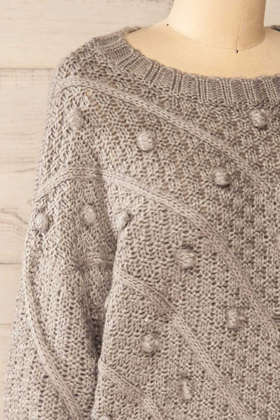 Miirsk Grey Cropped Knit Sweater | La petite garçonne side close-up