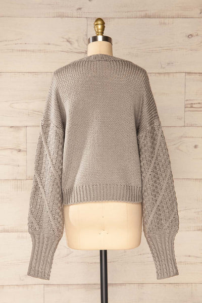 Miirsk Grey Cropped Knit Sweater | La petite garçonne back view