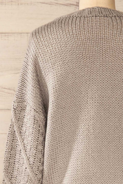 Miirsk Grey Cropped Knit Sweater | La petite garçonne back close-up
