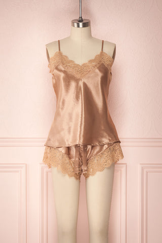 Miki Champagne Caramel Satin & Lace Loose Nighty Set | Boudoir 1861