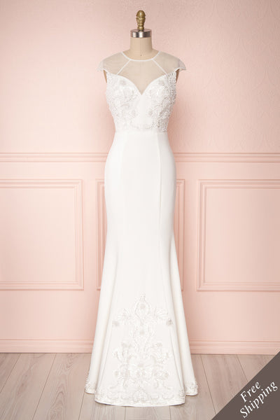 Mikinna White Mermaid Bridal Dress with Embroidery | Boudoir 1861