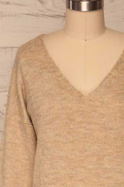 Mikstat Beige V-Neck Knit Sweater | La petite garçonne front close up