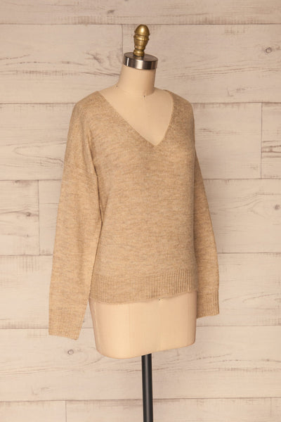 Mikstat Beige V-Neck Knit Sweater | La petite garçonne side view