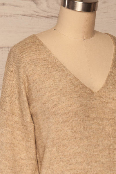 Mikstat Beige V-Neck Knit Sweater | La petite garçonne side close up