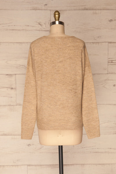 Mikstat Beige V-Neck Knit Sweater | La petite garçonne back view