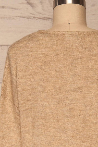 Mikstat Beige V-Neck Knit Sweater | La petite garçonne back close up